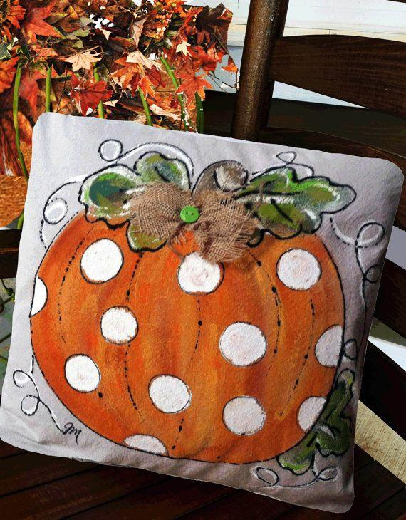 Polka Dot Pumpkin, Fall, Halloween, thanksgiving, Autumn, Decorations, Accent Pillows, Throw Pillows, Holidays, Hand-painted, Pillow Cover