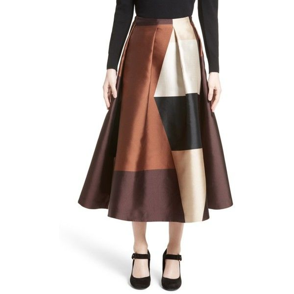 Women's Co Pleated Satin Tea Length Skirt (50,245 PHP) ❤ liked on Polyvore featuring skirts, geometric, long brown skirt, geometric skirt, brown skirt, colorblock skirts and satin maxi skirt