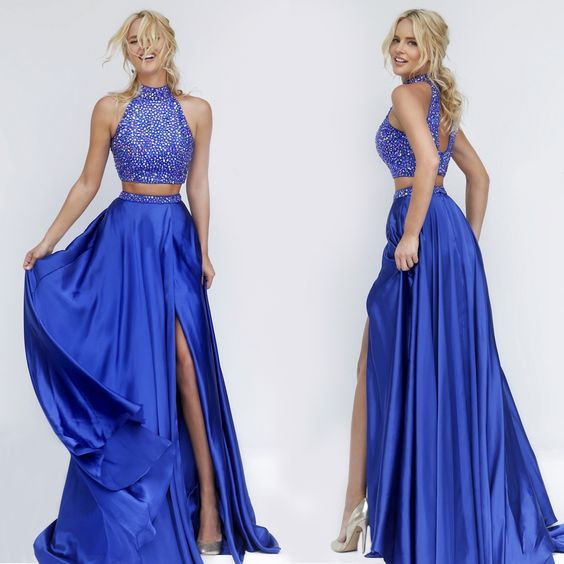 High Neck Two Piece Prom Dresses, Royal Blue