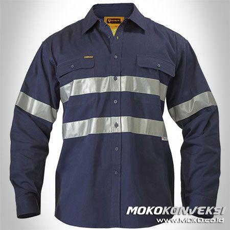 Baju Proyek Wearpack Kerja Lengan Panjang Warna Biru Navy / Dongker