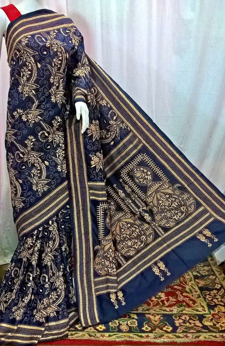 Party Blue Bangalore Silk Saree with Kantha Work
