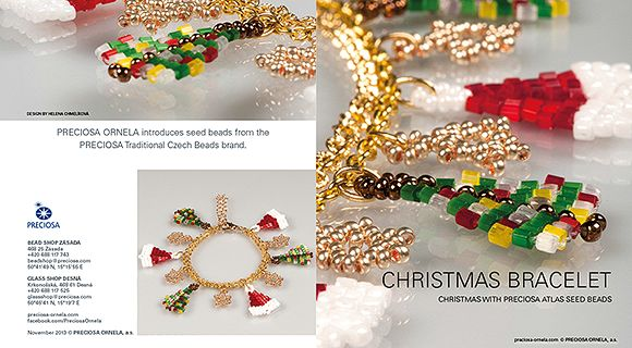 Create a holiday bracelet which evokes the atmosphere of Christmas. This simple tutorial will enable you to create classic Christmas symbols to accompany you throughout the holidays. The bracelet uses rocailles with atlas two-cut beads from the PRECIOSA Traditional Czech Beads brand.