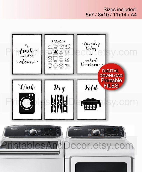 Printable Laundry Room Art Set Of 6 Prints Funny Laundry Signs 5x7