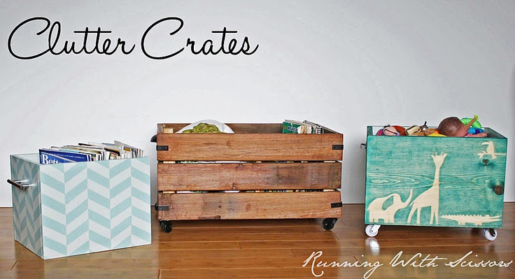 I think this is a great idea.  I reclaimed wood with drawer pulls as handles.  They call them clutter crates.