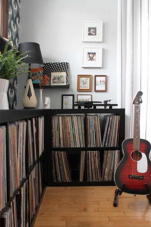 """Sneak Peek: Alison and Jeff Allen. """"We love listening to music! Our record collection is our most prized possession, and listening to records is part of our day-to-day ritual. We totally feel lucky that our house has a space to showcase our collection."""" #sneakpeek"""