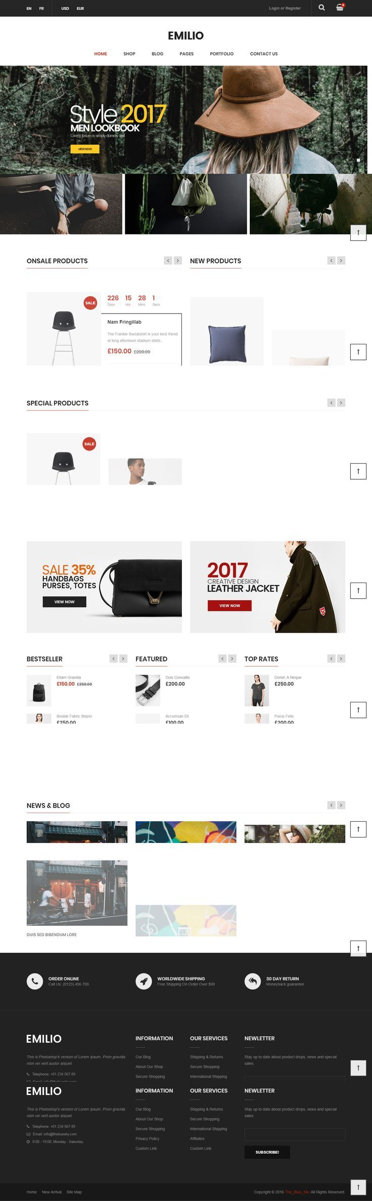 Emilio is suitable for e-commerce websites. We have included multiple layouts for home page, product page to give you best selections in customization. Emilio is not just a WooCommerce theme, we had a plan in order to develop Emilio for any kinds of websites: Business, Creative, News, Corporate, ... Emilio is a professional WordPress theme. It comes with a lot of features and variations: Responsive Layout, Mega Menu, Page Builder, Awesome Slider Revolution, Product Quick View, Easy One Click…