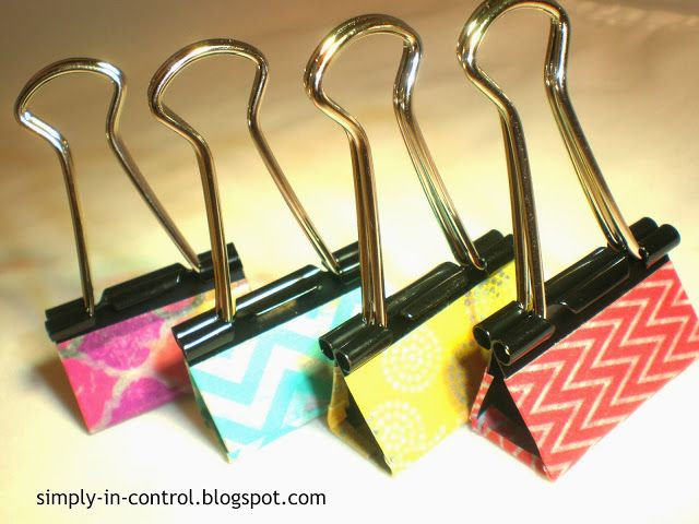 Using Washi Tape to Decorate Binder Clips