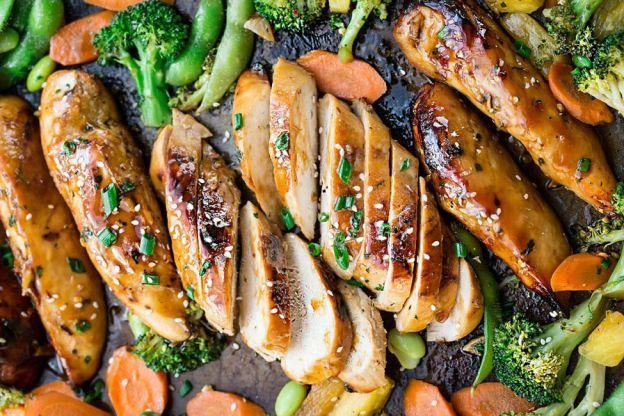 Recette facile de poulet teriyaki et légumes sur une plaque à cuisson