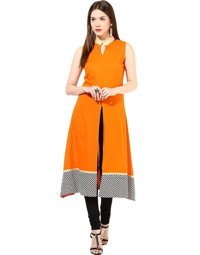 orange printed front slit kurti