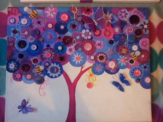 Button Tree Large Canvas Acrylic Painting by TryingNotToHibernate