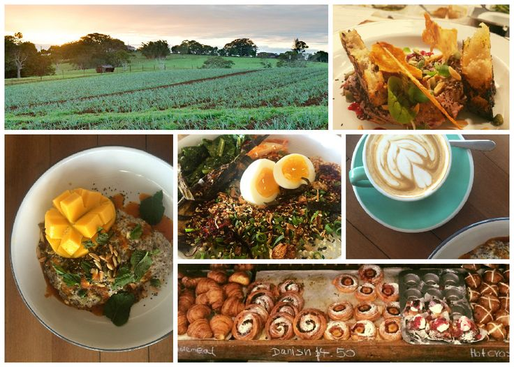 Three Blue Ducks on The Farm in Byron Bay (clockwise from top left): the view; chicken skins, parfait, davidson plum and bird seed for dinner; excellent single origin coffee; Bread Social loaves and pastries in the produce store; congee, boiled egg, kim chi, kale, miso eggplant, sesame, yarrow, burnt shallot and sea weed for breakfast; mixed grains, chia, almond milk, coconut parfait, lemongrass, ginger and chilli for breakfast.