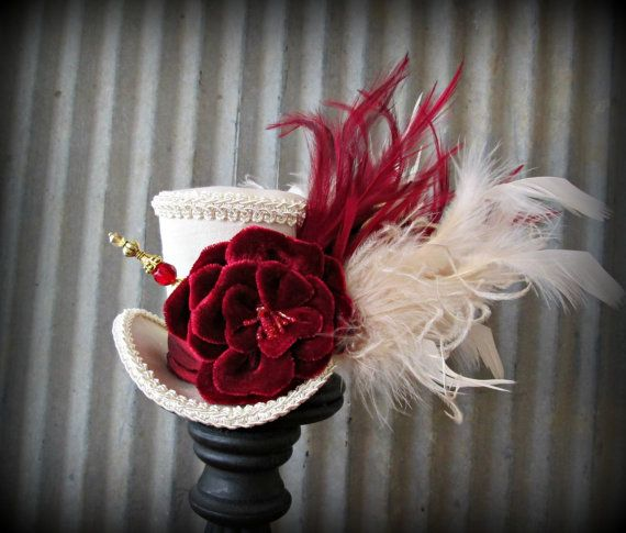 Mini Top Hat Ivory and Red Mini Top Hat Alice in by ChikiBird