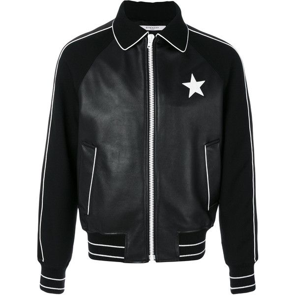 Givenchy star patch bomber jacket (3'120 CHF) ❤ liked on Polyvore featuring men's fashion, men's clothing, men's outerwear, men's jackets, black, g star mens jacket, mens patch jacket, mens fur collar bomber jacket, mens collared jacket and mens long bomber jacket