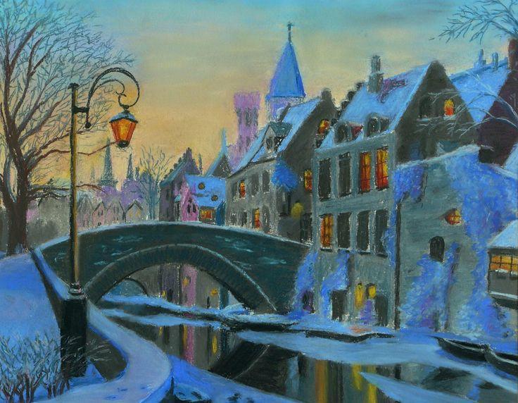 Brugge télen )pasztell kréta - papír)