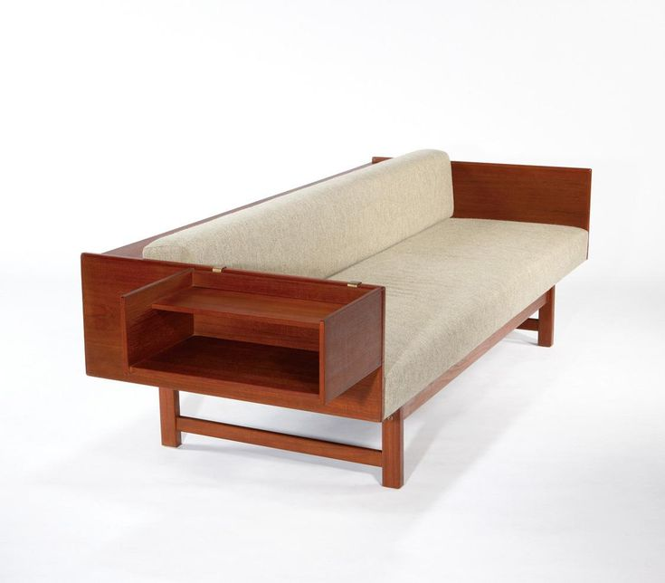 Yngve Ekstrom, Convertible sofa/daybed with cantilevered side table, 1959.