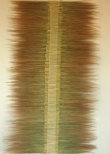 Hand-woven cotton and dried grass wall hanging