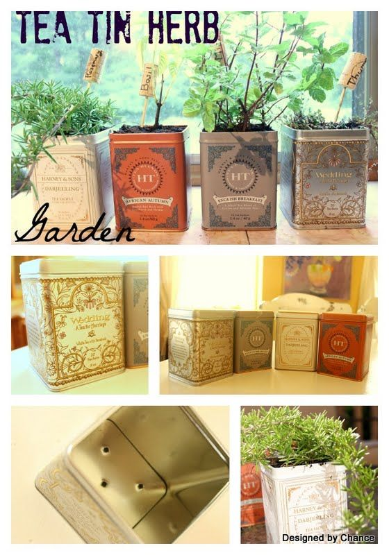 DIY HERB GARDEN :: Tea tin planters tutorial...shows you where to drill holes in the bottom & how to layer your gravel & soil for good drainage | #herbgarden #herbs #teatins