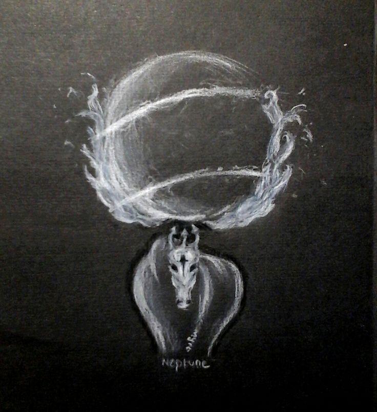 Drawing: Mythology, god, Neptune / Poseidon: Horse, planets