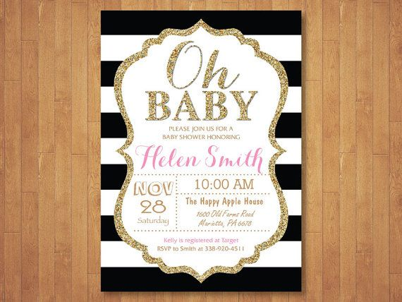 black and gold baby shower invitation oh baby gold glitter black