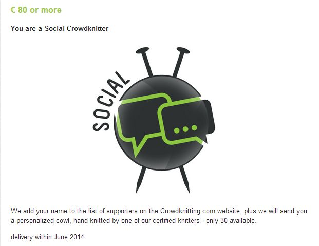 Social Crowdknitting, crowdfunding campaign on Indiegogo http://www.indiegogo.com/projects/crowdknitting-community