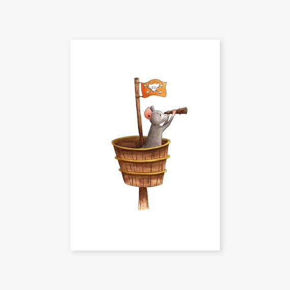 Watercolor Illustrations A4 A5 Pirate Mice Child Bedroom