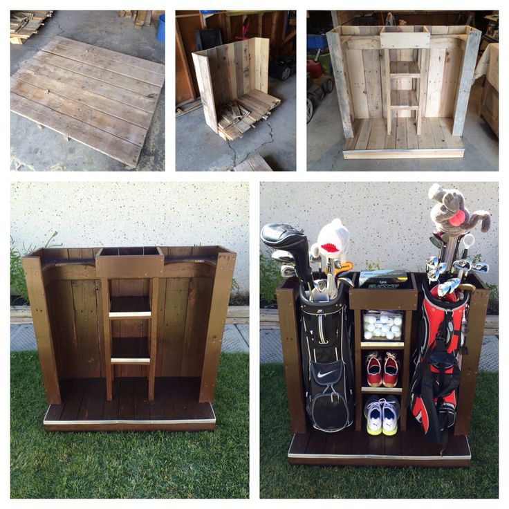 DIY Golf Bag Storage System. Dual storage for clubs plus accessories/shoes. Made from recycled pallets. http://golfuniversityau.com/