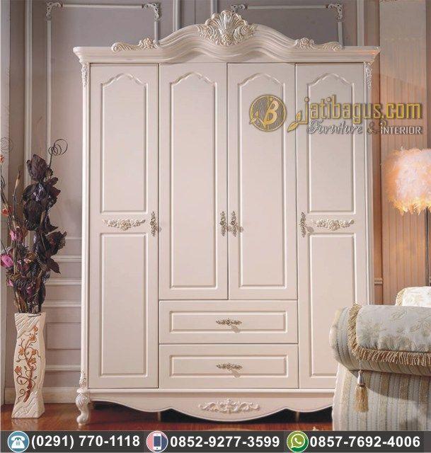 Lemari Pakaian 4 Pintu 2 Laci Kayu Mahoni Duco Putih Ivory