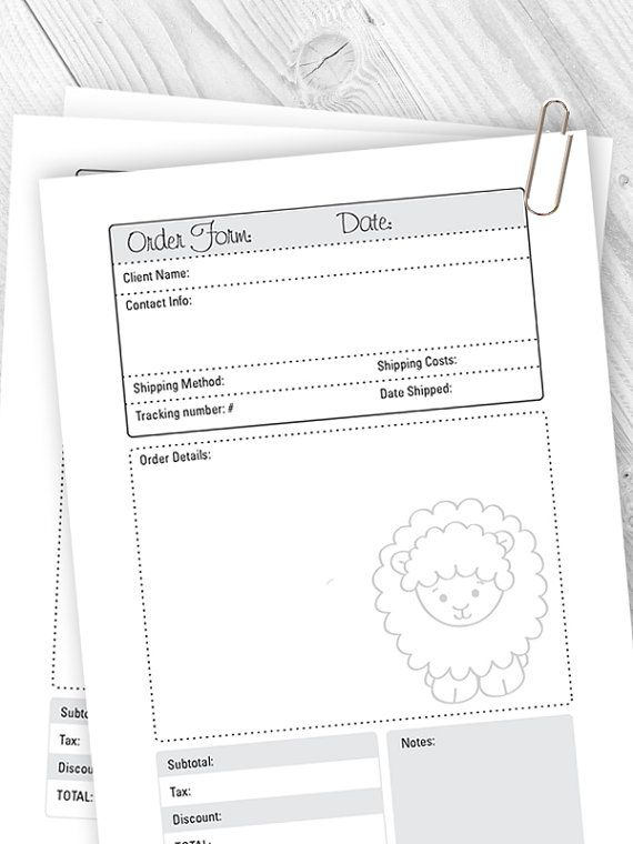 Printable Order Form. This Order Sheet will help you to keep the track of your sales.  You can print out as many as you want!
