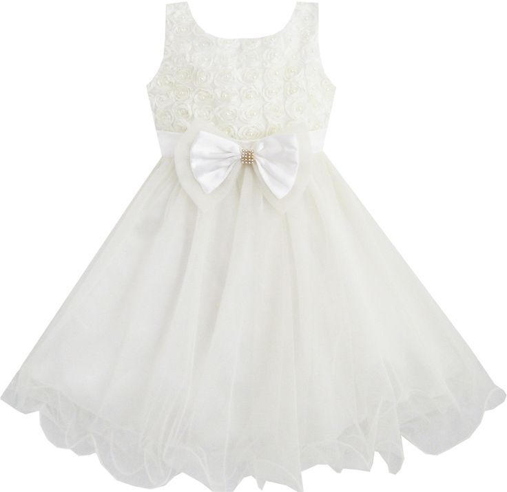 Girls Dress Flower Bridesmaid Wedding Pageant Tulle Pearl Kids Size 2-10 Y NWT