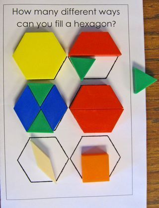 """Geometry - """"Fill A Hexagon"""" This website is a Kindy website - but has many open ended 'journal entry' type Qs to download and print that would work as a 'minds on' for primary level."""