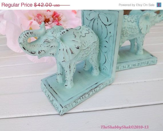 HOLIDAY SALE Elephant Book Ends / Shabby Chic / Office Decor / Elephant Statue /Aqua Home Decor