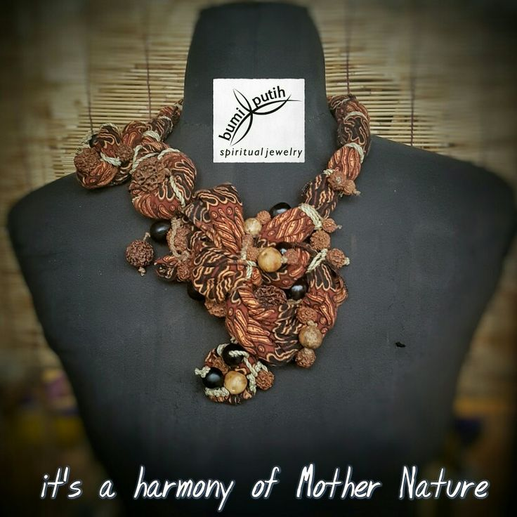 """My first batik fabric necklace, without cut nor stich anything on fabrics. Knotted with """"agel"""" natural fibers rope and """"teurep"""" natural fibers cord. A combination with various natural rudraksha seeds, young palm queen seeds, and soapberry seeds.  Being thankful to Mother Nature and The Creator for all the blessings"""