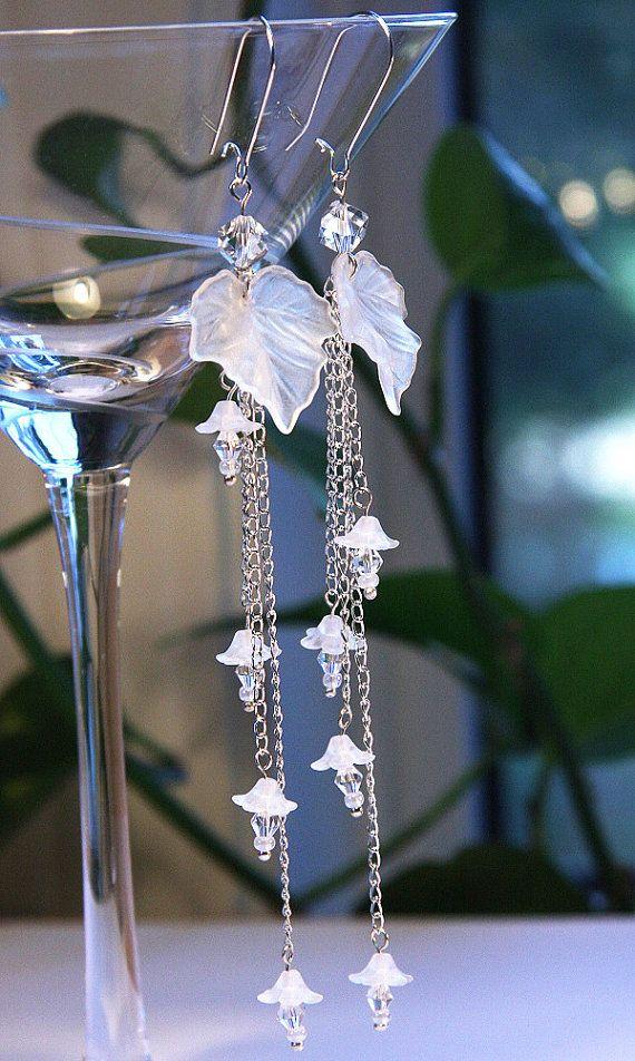 Artisan White Wedding Earrings OOAK Bridal Jewelry by KapKaDesign