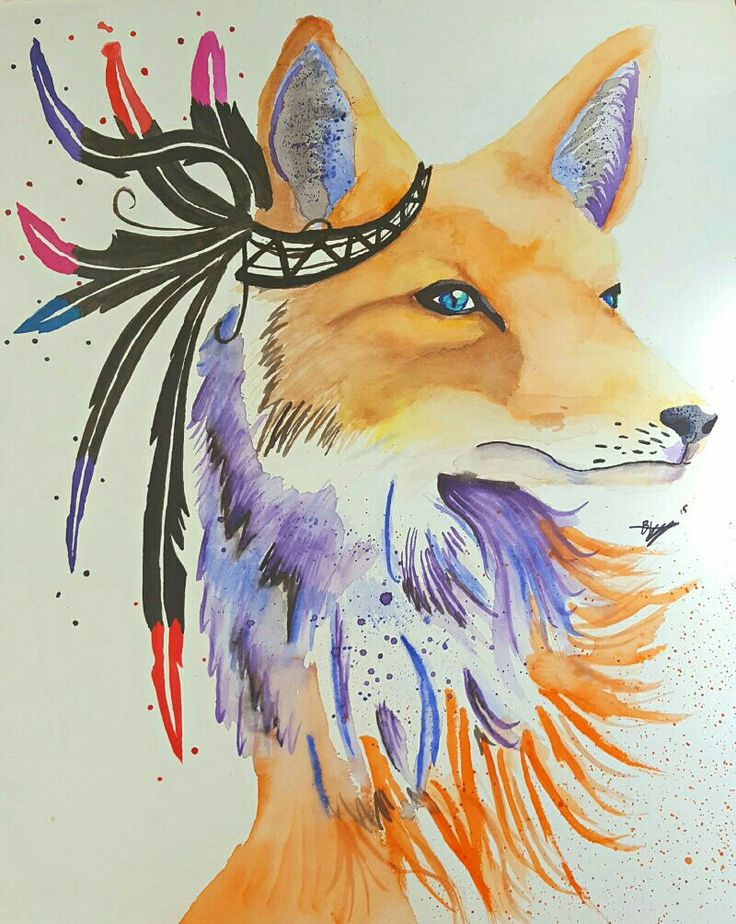 Another one bites the dust. I had a bit of an artists  block with this one, so I went a phsyco on the paint until i thought it looked good. It supposed to be an expressive piece of a fox wearing a feathery headband. Thanks!