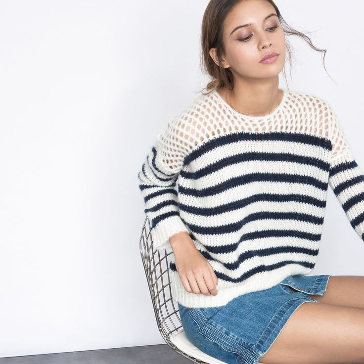 Pull grosse maille marinière