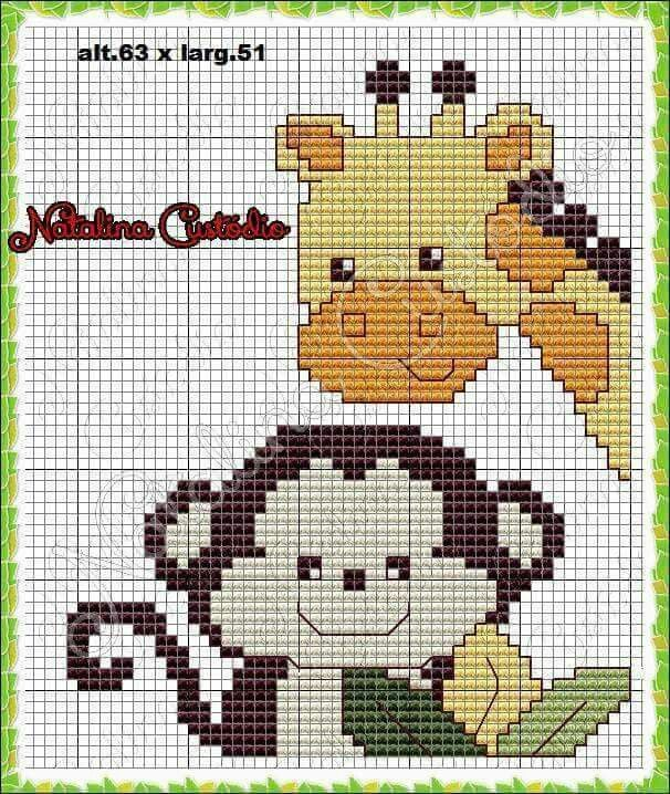 Monkey and giraffe x-stitch