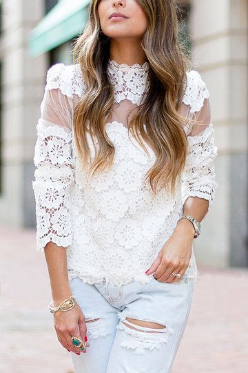 White Embroidery Hollow Lace Splicing Long Sleeves Blouse - US$19.95 -YOINS ==