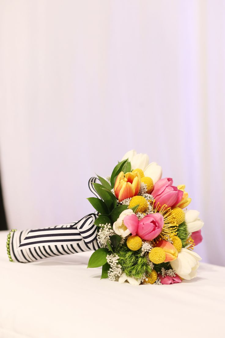 white and blue navy stripe bouquet