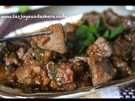 Foie en sauce / Kebda mchermla - Les Joyaux de Sherazade