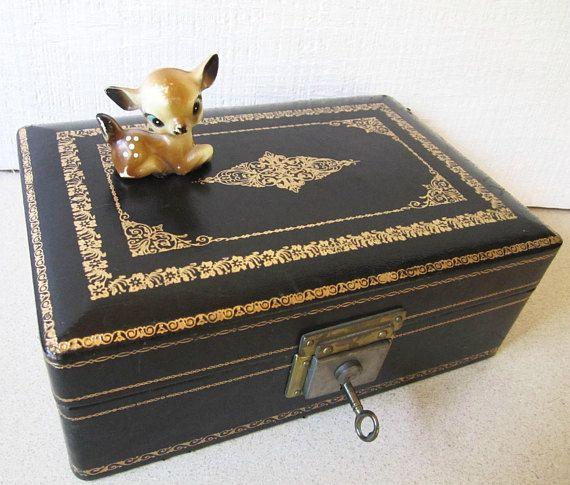 Blue Velvet Jewelry Box Vintage Jewelry Box Blue Velvet Key Lock Mid Century Home Antique Jewelry Box Vintage Jewelry Box Jewelry Box