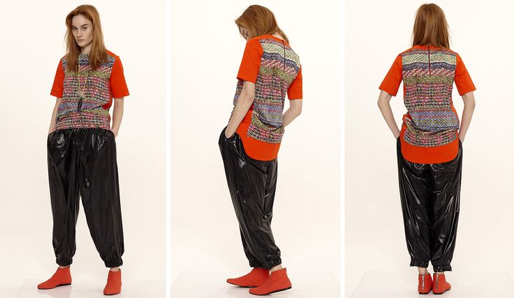 Dori Tomcsanyi jacquard printed oversized t-shirt with shoulder details and windbreaker trousers.  Available from September at the webshop. http://doritomcsanyi.com/