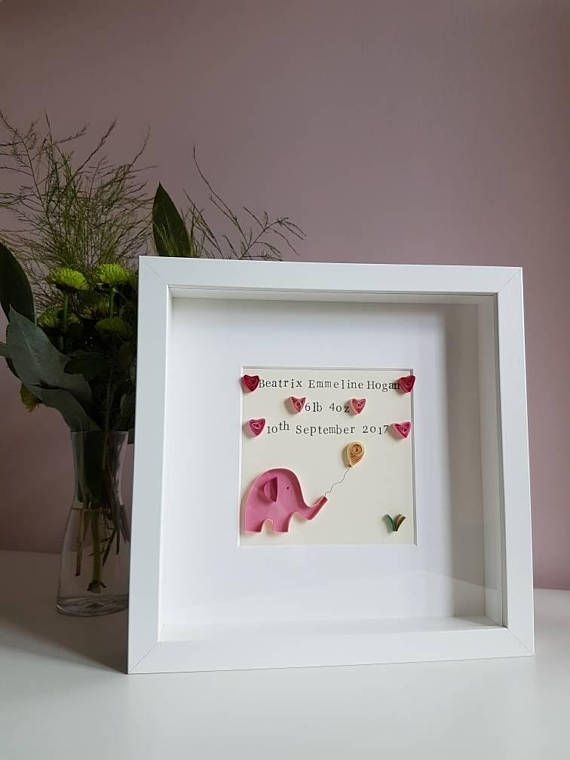 Personalised New baby girl gift. Handmade framed quilled picture - Baby Elephant. Nursery print wall art. New mum. Christening, naming day https://www.etsy.com/uk/listing/544291860/personalised-new-baby-girl-gift-handmade
