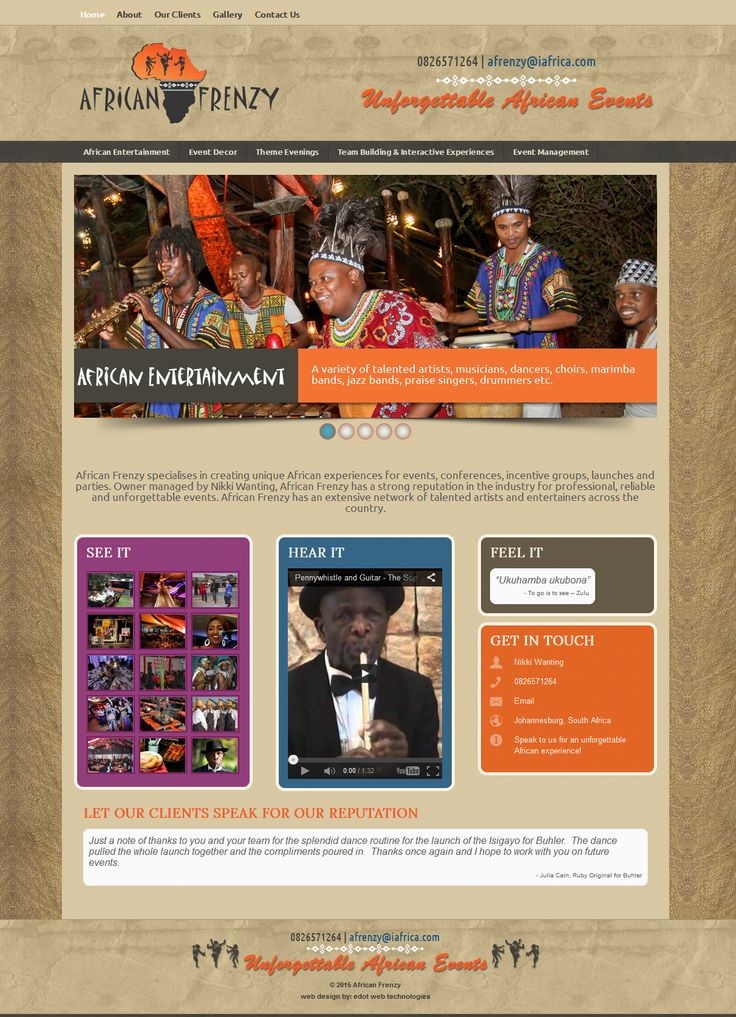 African Frenzy specialises in creating unique African experiences for events, conferences, incentive groups, launches and parties. Owner managed by Nikki Wanting, African Frenzy has a strong reputation in the industry for professional, reliable and unforgettable events. African Frenzy has an extensive network of talented artists and entertainers across the country. http://www.africanfrenzy.co.za