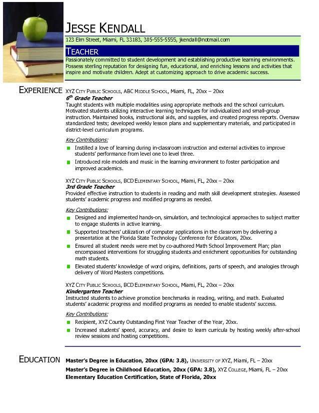 40 best Teacher Resume Examples images on Pinterest Resume ideas - school teacher resume sample