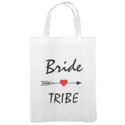 Bride Tribe Red Heart Arrow Reusable Tote Bag - red gifts color style cyo diy personalize unique