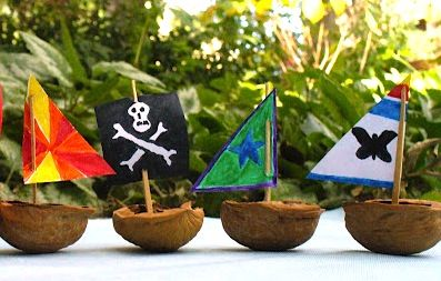 Walnut shell pirate ships!! Just need walnut shells, tooth picks, paper and crayons!!