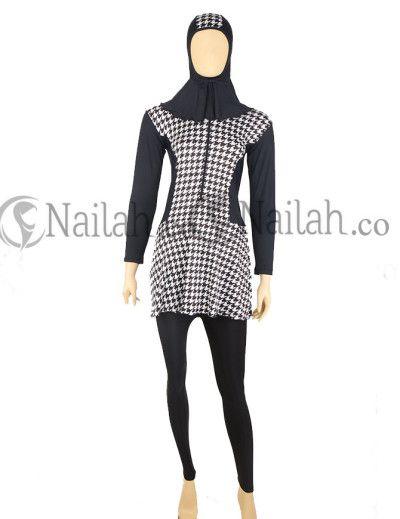 Muslimah swimwear houndstooth pattern - nice! www.nailah.co