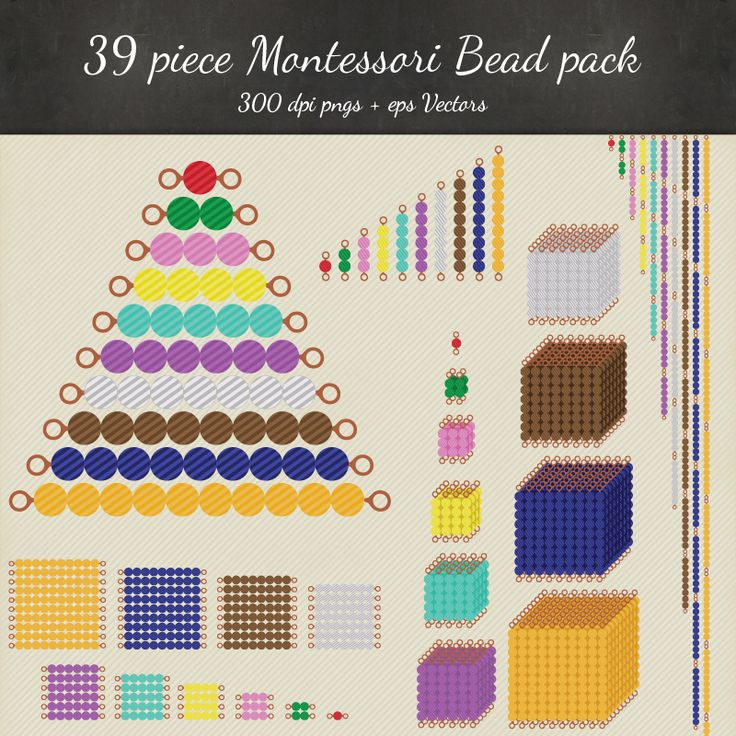 Montessori Bead Printables, DIY Montessori Bead Stairs, Bead Chains, Bead Squares & Cubes. Montessori Golden Beads, Montessori Clip art and vector package. Printable as math manipulatives, use as clip art, create your own activities and more!
