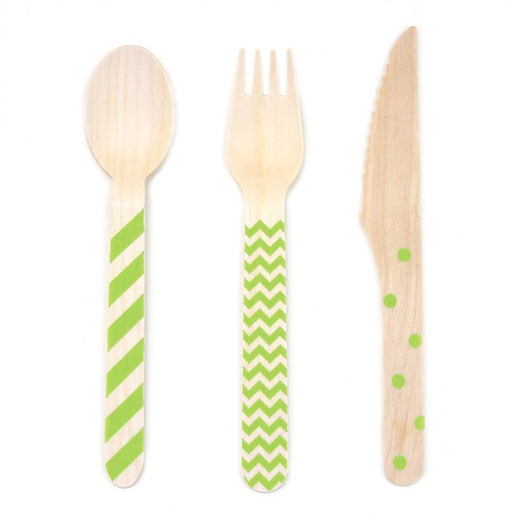 Kiwi Green Stamped Wooden Cutlery Set [DMC67428] : Wholesale Wedding Supplies, Discount Wedding Favors, Party Favors, and Bulk Event Supplies