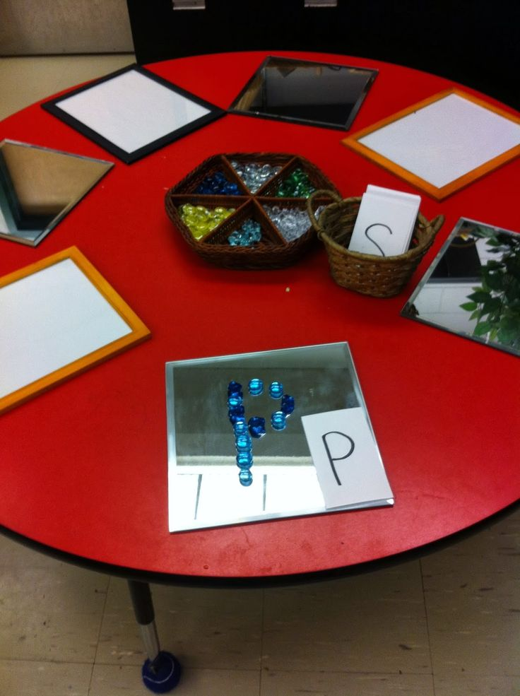 Adventures in Kindergarten: Discovery Time-letters with loose parts or names; other great table invitations here